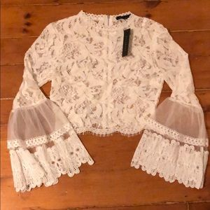 Crop lace top with bell sleeves